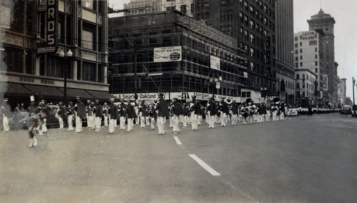 youth marching band in downtown Oakland parade, circa 1948