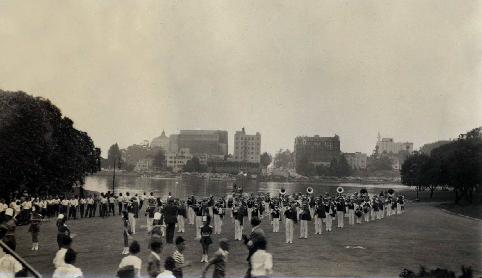 Youth marching band performs in bandstand park area of Lakeside Park, Lake Merritt, circa 1948