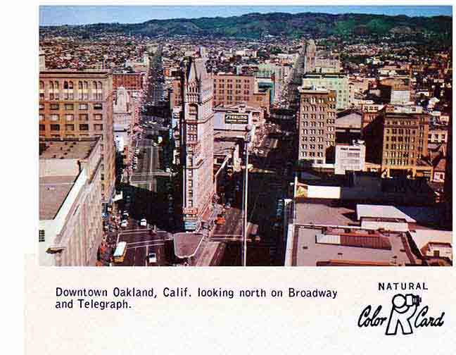 Birdseye view of Broadway and Telegraph intersection in downtown Oakland, circa 1950s
